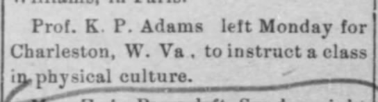 Uncle Curtis goes to W. VA to teach Physical Culture  16 Nov 1904 -