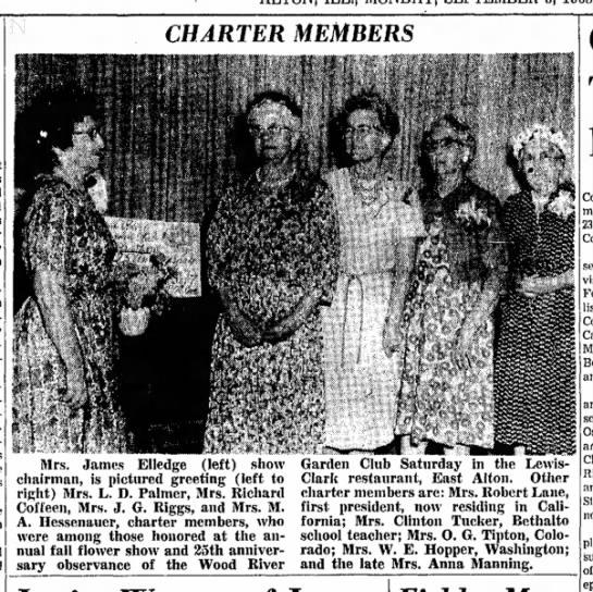 Mrs M F Manning(Anna), Charter member, 25th Anniversary of Garden Club -