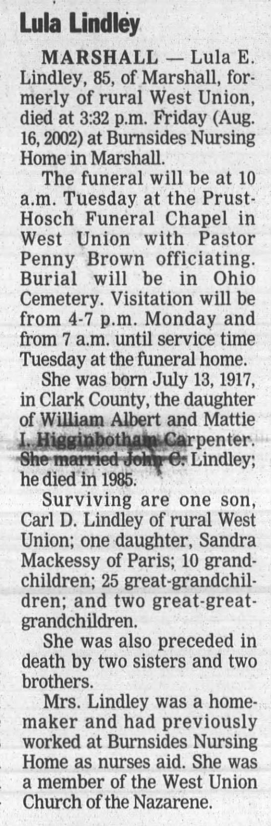 Lula Lindley-16 Aug.2002 - Lula Lindley MARSHALL Lula E. Lindley, 85, of...