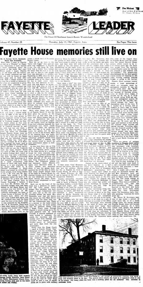 Fayette House Memories - Newspapers com