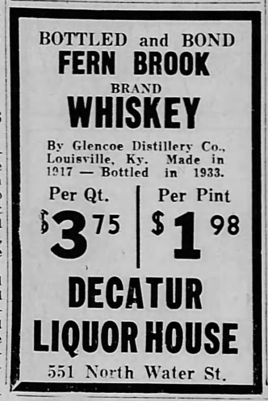 1936 May 29 Fern Brook Whiskey by Glencoe -