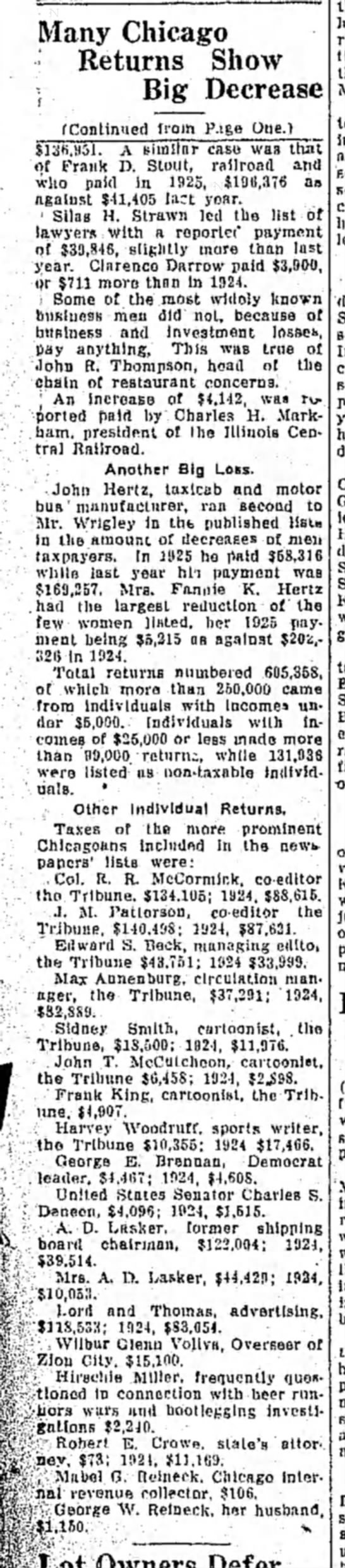 1 Sep 1925 pg1 - The Hutchinson News (Kansas) HTW 1924 Taxes - Many Chicago Returns Show • Big Decrease...