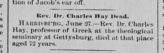 Death of Charles Hay -
