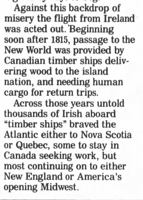 Canadian timber ships bring immigrants to North America -