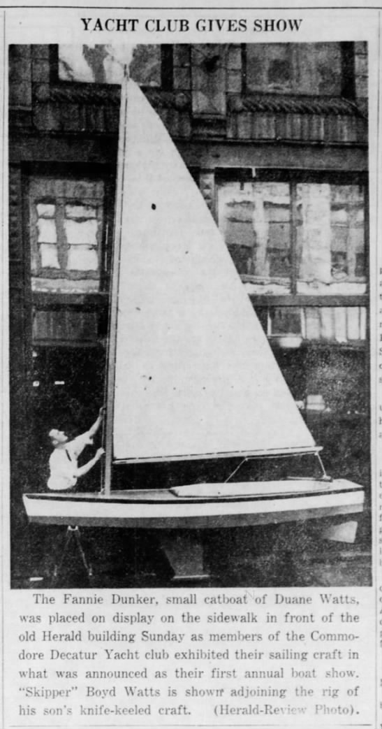 Duane Watts shows his sailing craft at annual boat show in 1937 -