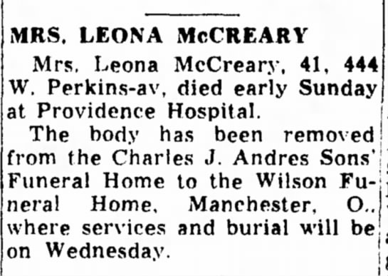 Leona Craycraft McCreary -