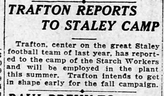Trafton Repots To Staley Camp -