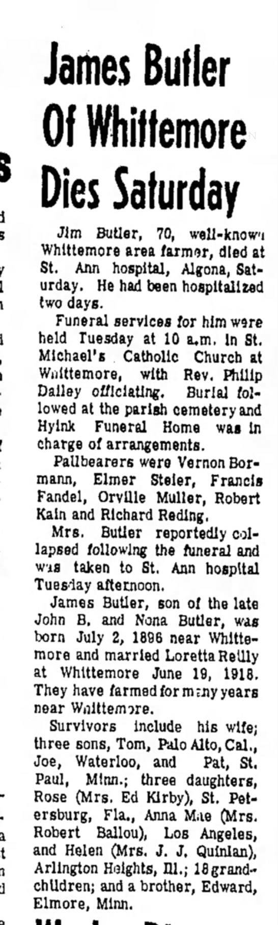 Funeral of James B Butler, 30 Dec 1966 -
