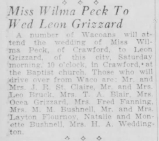 Leon Grizzard_Wilma Peck to Wed 06 21 1929_Waco, TX -