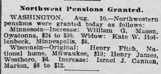 from the Saint Paul (MN) Globe dated 11 Aug 1898 -