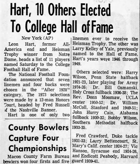Hart, 10 Others Elected To College Hall of Fame -