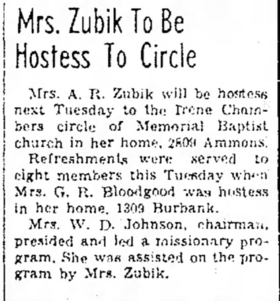 Mrs. (Wanda) Zubik Hosts Circle -