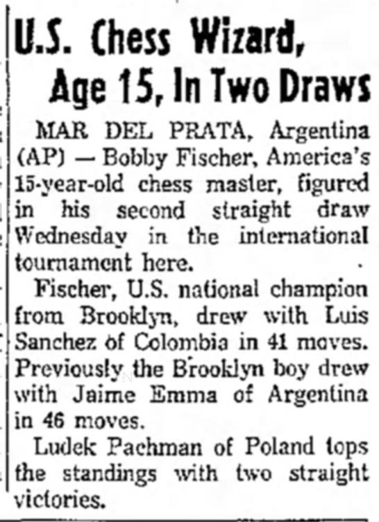 U.S. Chess Wizard, Age 15, In Two Draws -