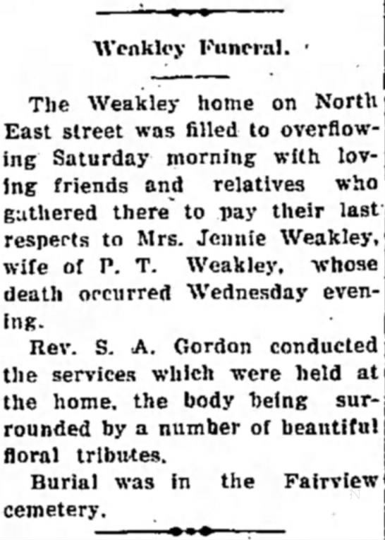 Great Grandma Jennie Weakley's funeral  11 Nov 1933 -