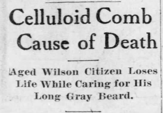 Celluloid Comb Cause of Death -
