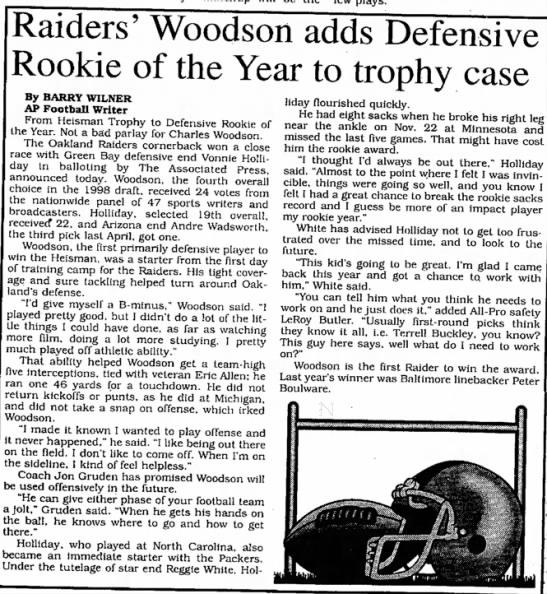 Raiders' Woodson adds Defensive Rookie of the Year to trophy case -
