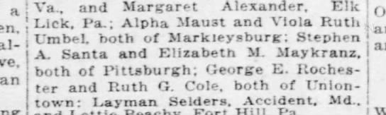 Elizabeth M Maykranz and Stephen A Santa marriage license in Cumberland, MD -