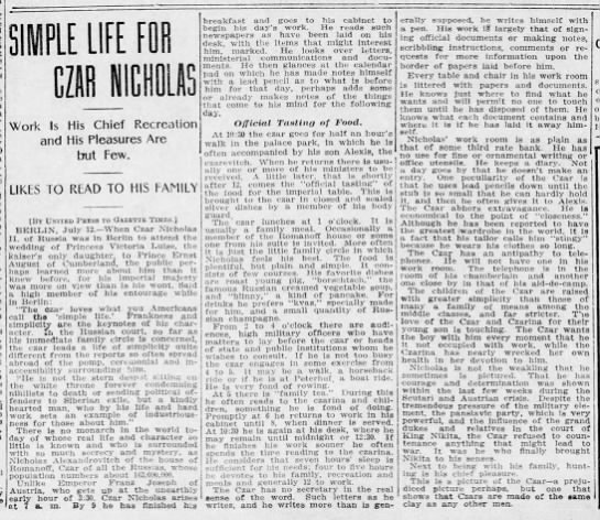 Description of Nicholas II and his daily life during visit to Berlin -