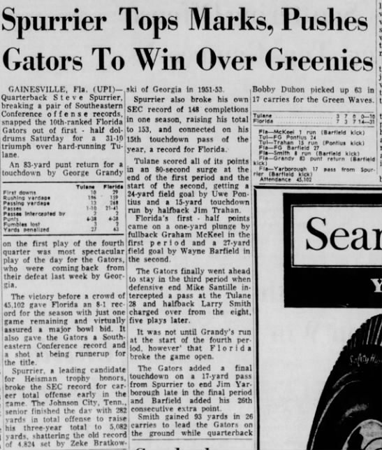 Spurrier Tops Marks, Pushes Gators To Win Over Greenies -
