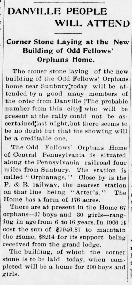 Odd Fellows' Orphans Home Cornerstone Ceremony -