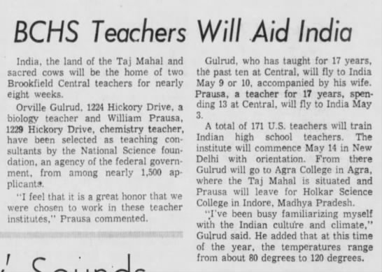 4/11/68 gulrud/prausa teach in india -