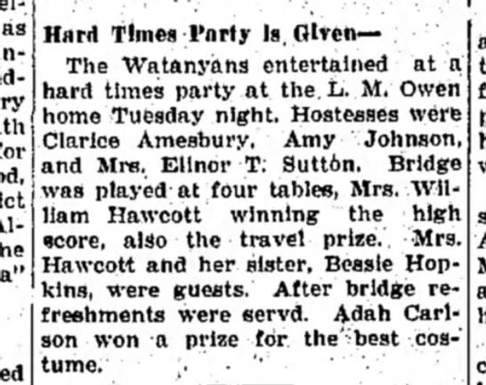 "January 1932 - ""Hard Times"" party held at L.M. Owen house -"