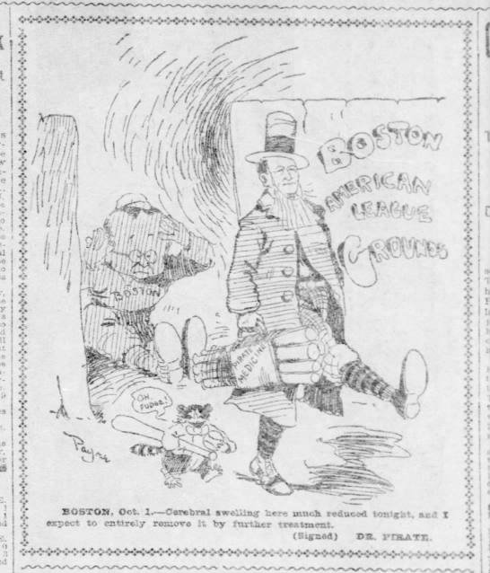 Cartoon following Pittsburgh win of game 1 of 1903 World Series -