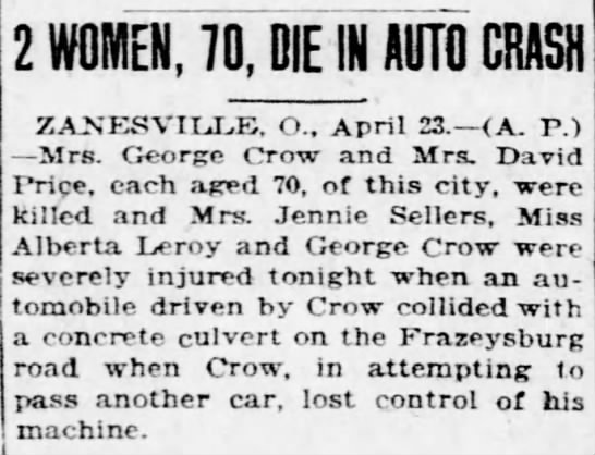 Mrs George Crow car accident (Pittsburgh Post-Gazette