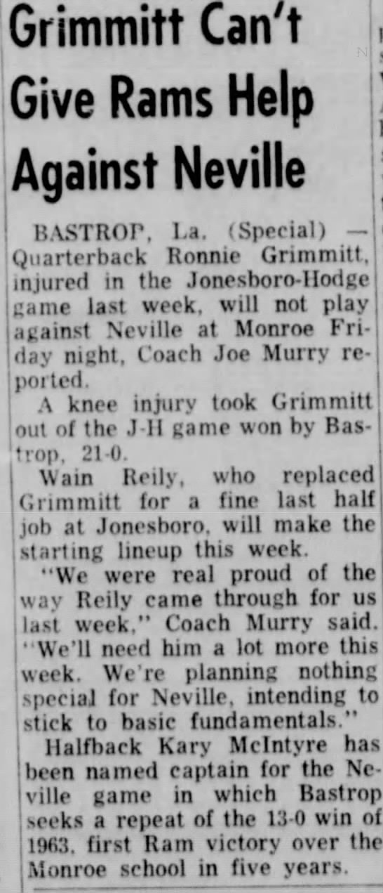 Kary mcintyre Sept 16 1964 football - Grimmitt Can't Give Rams Help Against Neville...