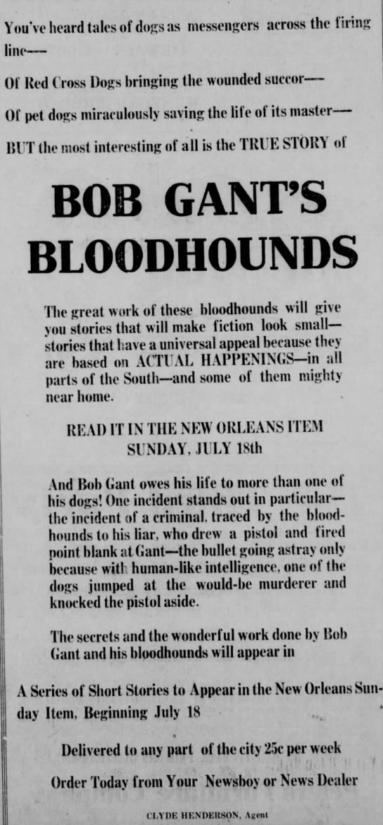 Bob Gant bloodhounds in New Orleans Sunday paper 16 Jul 1920
