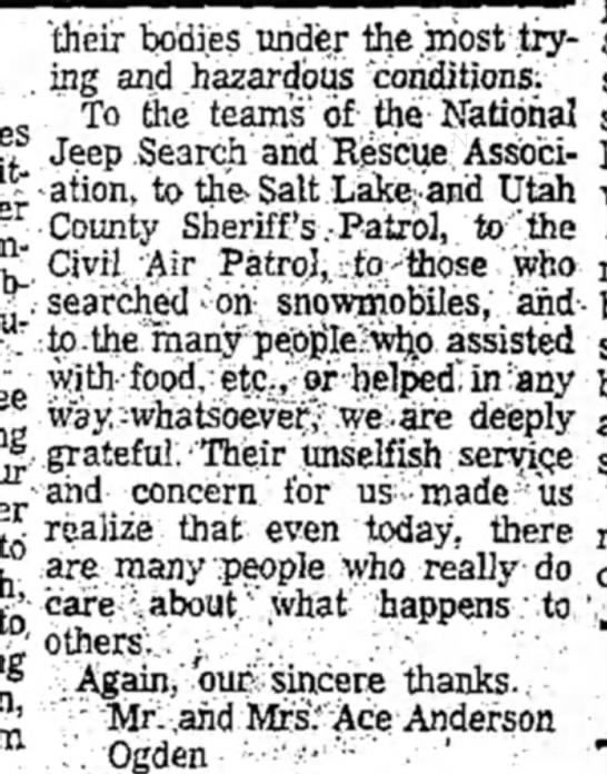 column 2 of thanks from anderson family 01/27/1972 -