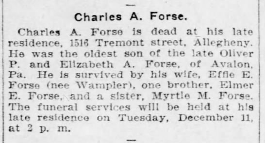 Charles A Forse obit, not in FTM -