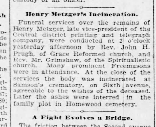 Metzger Henry - funeral details Pgh Post 28 Aug 1895 p6 -