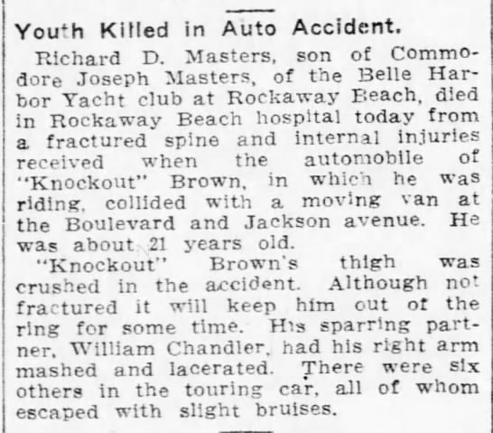 MASTERS Richard D - 1912 death by car accident - Pittsburgh