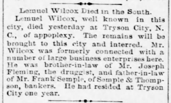 1889 Feb 07 - Lemuel Wilcox Died in the South - Pittsburgh Daily Post -