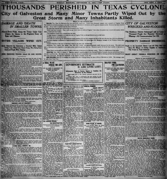 Headlines announcing the death and destruction caused by the Galveston hurricane -
