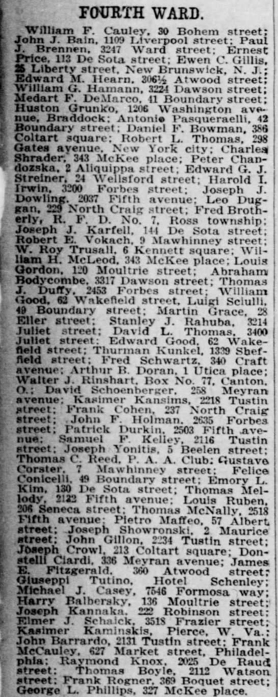 Joseph Kannaka listed in Fourth Ward. Pittsburgh Daily Post - July 25, 1918 -