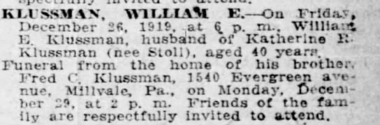 William E. Klussmann death notice. -