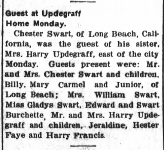 16 May 1934 Chester Swart visits sister in Elwood, IN -