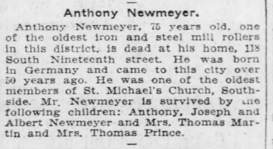 Anton Neumeyer death notice -