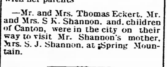 S.K. Shannon of Canton, S.J. Shannon -