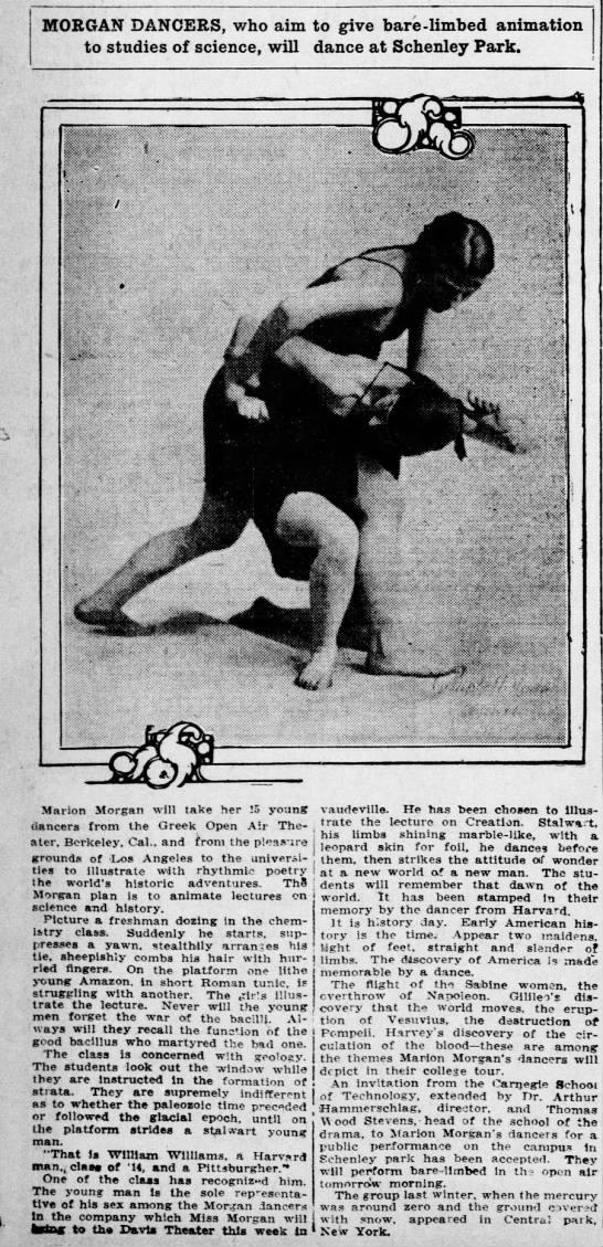 Morgan Dancers, Pittsburgh Daily Post (Pittsburgh, Pennsylvania) 30 October 1916, p 9 -