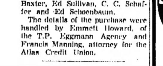 F Manning - Baxter, Ed Sullivan, C. C. Sehaf- fer and 'Ed...