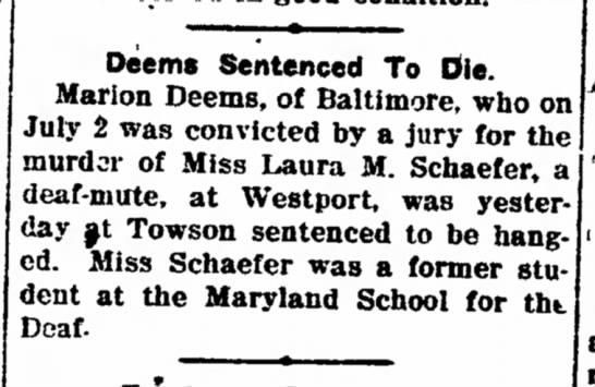 Marion Deems Sentenced August 4, 1915 -