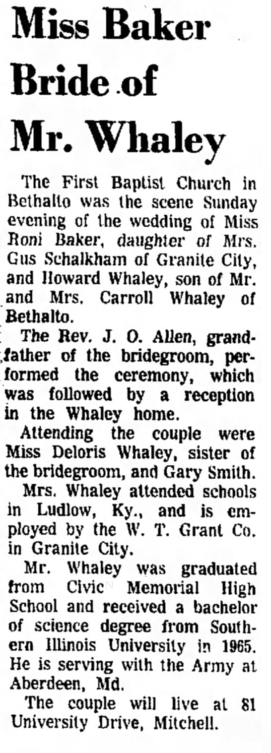Howard Whaley marriage 1966 -