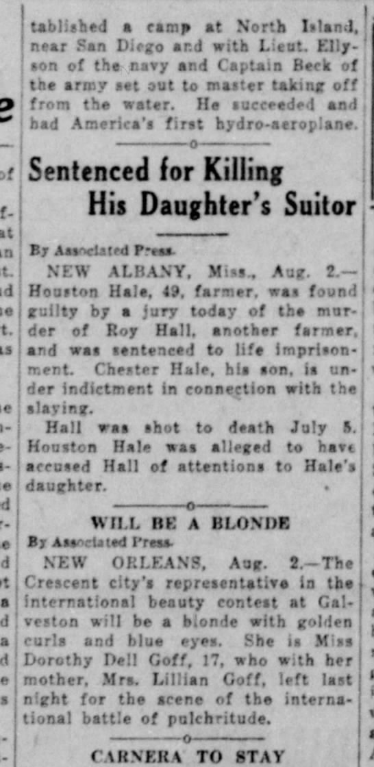 Hale murders Hall verdict theme Monroe news star star Monroe Louisiana 8/2/1930 -
