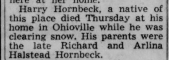 Harry Hornbeck death notice -