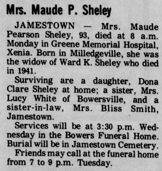 Maude (Pearson) Sheley death & funeral notice -