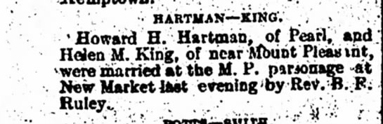 Howard H Hartman, marriage notice -