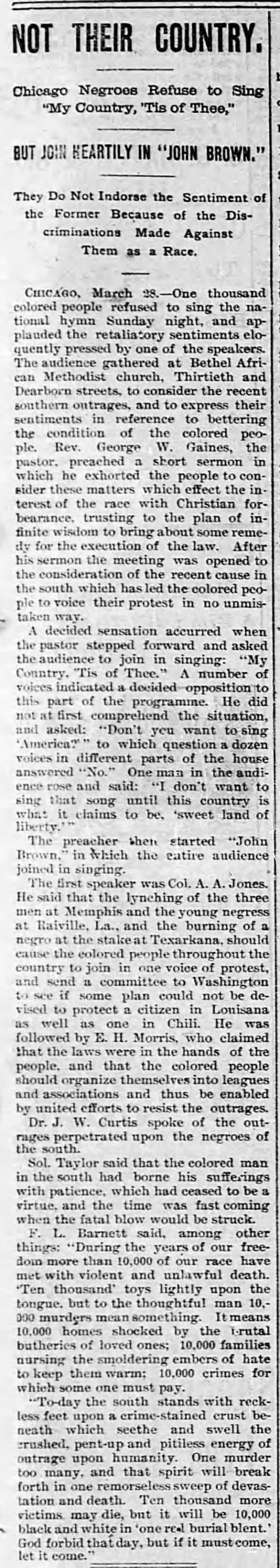 Not Their Country, The Decatur Herald (Decatur, Illinois) March 29, 1892, page 1 -